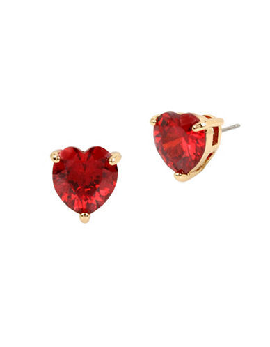 Betsey Johnson Heart Crystal Stud Earrings-RED-One Size