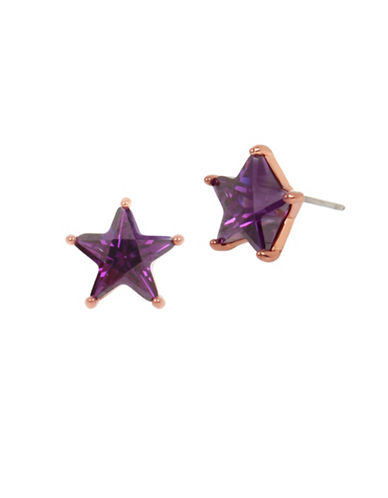Betsey Johnson Stars Crystal Stud Earrings-PURPLE-One Size
