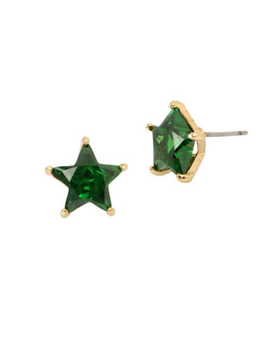 Betsey Johnson Stars Crystal Stud Earrings-GREEN-One Size