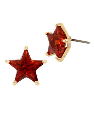 Betsey Johnson Crystal Star Accent Stud Earrings-RED-One Size