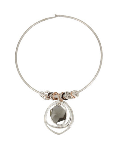 Robert Lee Morris Soho Shake It Up Diamond Pendant Accent Tri-Tone Round Wire Necklace-MULTI-One Size