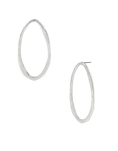 Robert Lee Morris Soho Oval Gypsy Hoop Earrings-SILVER-One Size