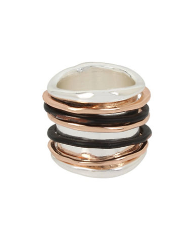 Robert Lee Morris Soho Stacked Tri-Tone Ring-MULTI-One Size