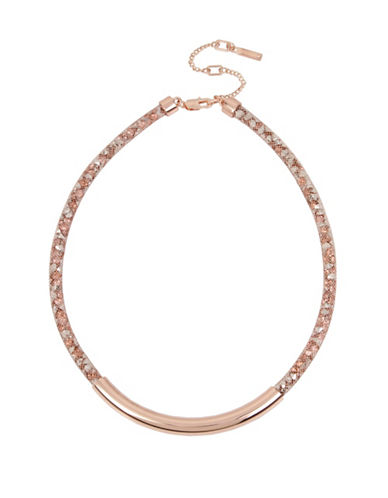 Kenneth Cole New York Crystal Frontal Bar Necklace-ROSE GOLD-One Size