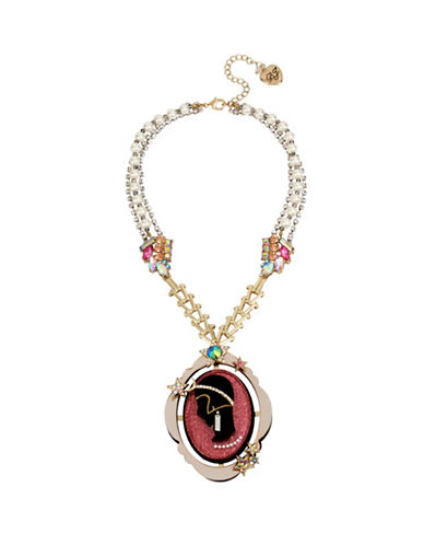 Betsey Johnson Celestial Simulated Faux Pearl and Crystal Pendant Necklace-PINK-One Size