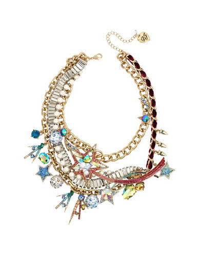 Betsey Johnson Celestial Simulated Faux Pearl and Crystal Shooting Star Statement Necklace-ASSORTED-One Size