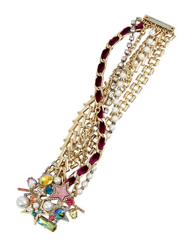 Betsey Johnson Faux Pearls and Semi-Precious Stone Statement Bracelet-MULTI-One Size