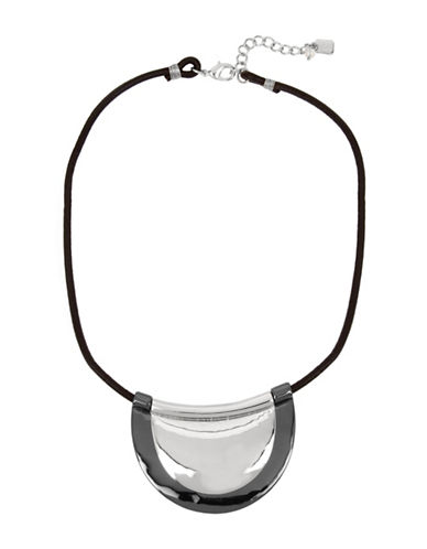 Robert Lee Morris Soho Leather Layered Pendant Necklace-SILVER-One Size