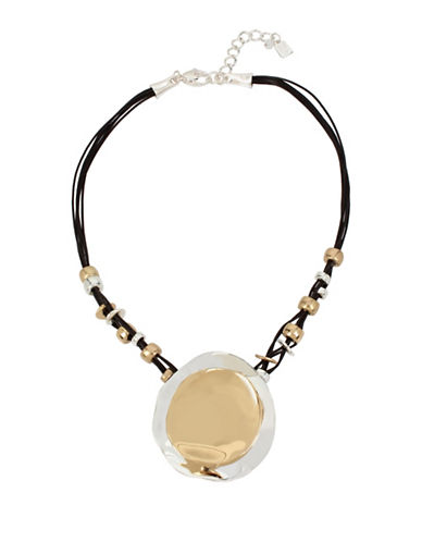 Robert Lee Morris Soho Two-Tone Circle Leather Pendant Necklace-MULTI-One Size