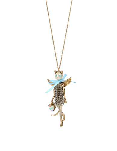 Betsey Johnson Angels Crystal Pendant Necklace-BLUE-One Size