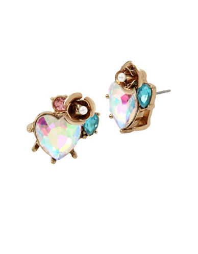 Betsey Johnson Heart and Rose Cluster Earrings-MULTI-One Size