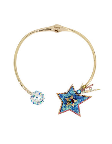Betsey Johnson Celestial Simulated Faux Pearl and Crystal Shooting Star Collar Necklace-BLUE-One Size