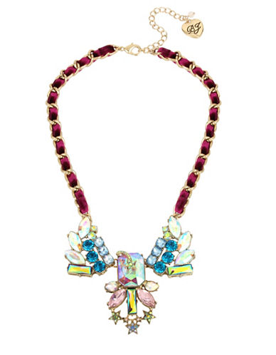 Betsey Johnson Star and Stone Cluster Frontal Necklace-MULTI-One Size