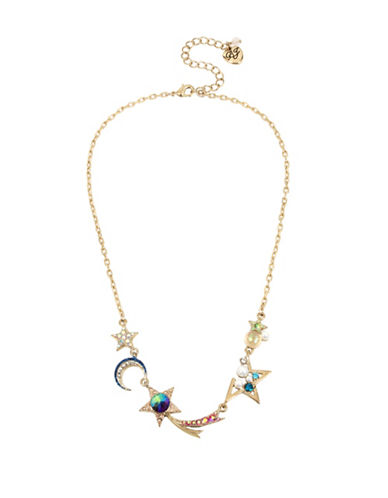 Betsey Johnson Shooting Star Frontal Necklace-MULTI-One Size