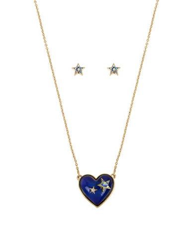 Betsey Johnson Heart-Shaped Mood Pendant and Star Stud Set-MULTI-One Size