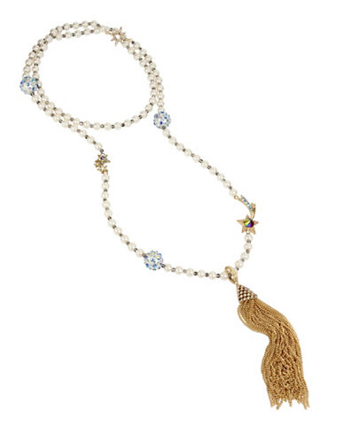 Betsey Johnson Faux-Pearl Necklace with Tassel Pendant-MULTI-One Size