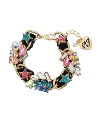 Betsey Johnson Celestial Crystal Velvet Cluster Bracelet-ASSORTED-One Size