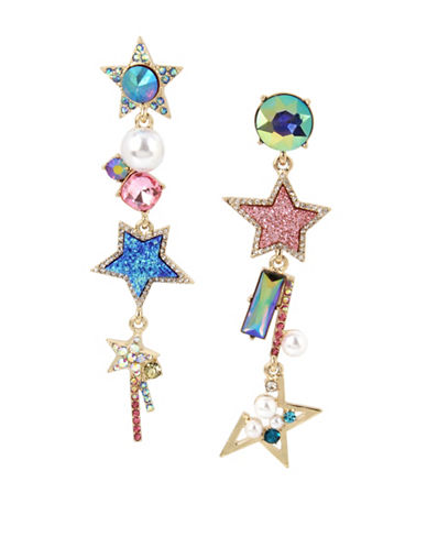 Betsey Johnson Mismatch Star Cluster Earrings-MULTI-One Size