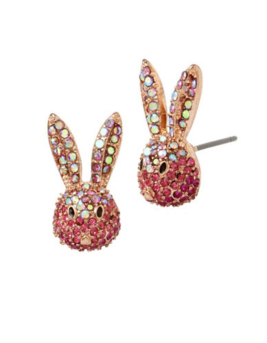 Betsey Johnson Crystal Accent Bunny Stud Earrings-PINK-One Size