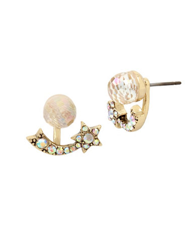 Betsey Johnson Shooting Star Crystal Earrings-GOLD-One Size