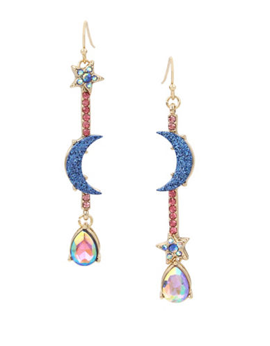 Betsey Johnson Crystal and Glitter Accent Linear Star Earrings-MULTI-One Size