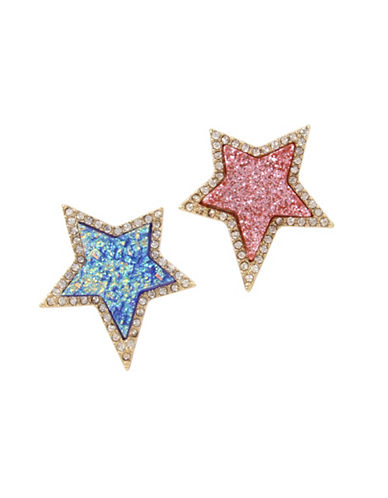 Betsey Johnson Crystal Accent Mismatch Star Stud Earrings-MULTI-One Size