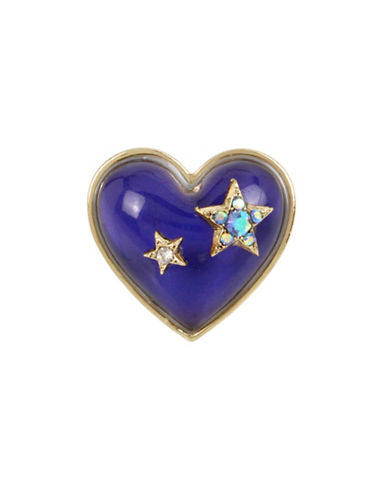 Betsey Johnson Crystal Star Accent Heart Shaped Mood Ring-MULTI-7.5