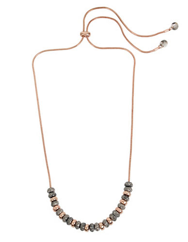 Kenneth Cole New York Supercharged Black Diamond and Crystal Bead Necklace-ROSE GOLD-One Size