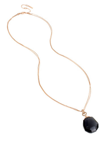 Kenneth Cole New York Supercharged Black Faceted Stone Pendant Necklace-ROSE GOLD-One Size