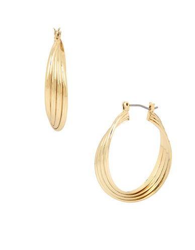Kenneth Cole New York Trinity Rings Medium Twist Hoop Earrings-GOLD-One Size