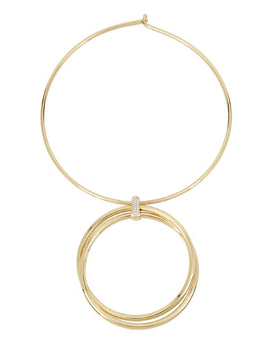 Kenneth Cole New York Trinity Rings Crystal Double Circle Pendant Necklace-GOLD-One Size