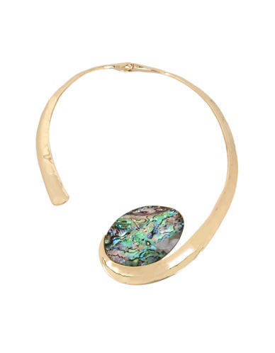Robert Lee Morris Soho Midnight Hour Crystal Swirl Necklace-GOLD-One Size