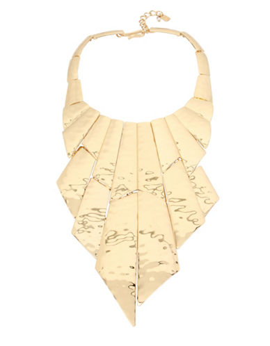 Robert Lee Morris Soho Midnight Hour Hammered Statement Bib Necklace-GOLD-One Size