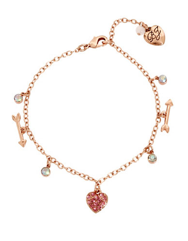 Betsey Johnson Crystal Heart and Arrow Anklet-ROSE GOLD-One Size