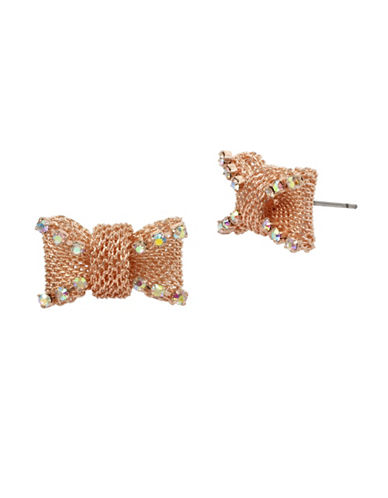 Betsey Johnson Crystal Mesh Stud Earrings-ROSE GOLD-One Size