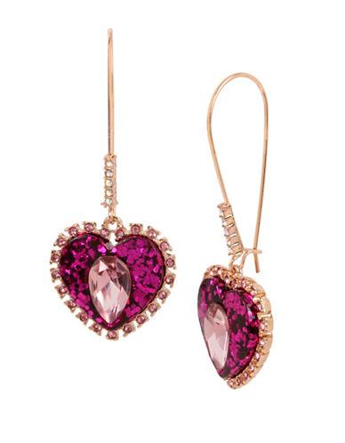 Betsey Johnson Crystal Heart Drop Earrings-PINK-One Size