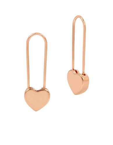 Betsey Johnson Heart Safety Pin Earrings-ROSE GOLD-One Size