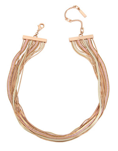 Kenneth Cole New York Knots and Pearls Chain Necklace-ROSE GOLD-One Size