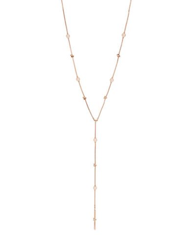 Kenneth Cole New York Faux Pearl and Crystal Y-Necklace-ROSEGOLD-One Size