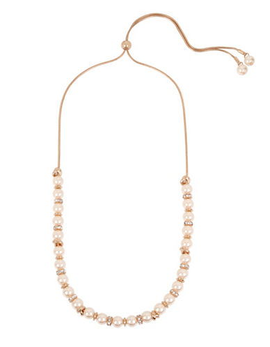 Kenneth Cole New York Faux Pearl and Crystal Necklace-ROSE GOLD-One Size