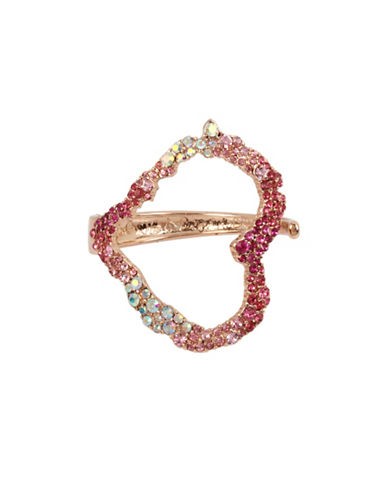 Betsey Johnson Crystal Tonal Heart Cuff Bracelet-PINK-One Size