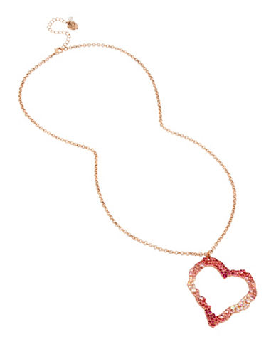 Betsey Johnson Tonal Open Heart Pendant Necklace-PINK-One Size