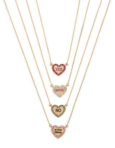 Betsey Johnson Four-Piece Heart Pendant Necklace Set-PINK-One Size