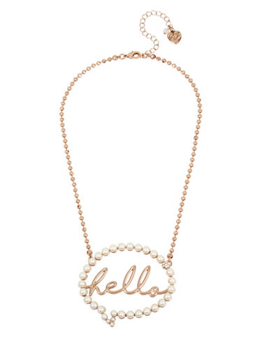 Betsey Johnson Hello Bubble Pendant Necklace-ROSE GOLD-One Size