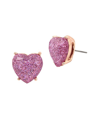 Betsey Johnson Glitter Heart Stud Earrings-LAVENDER-One Size