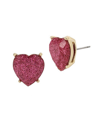Betsey Johnson Glitter Heart Stud Earrings-PINK-One Size