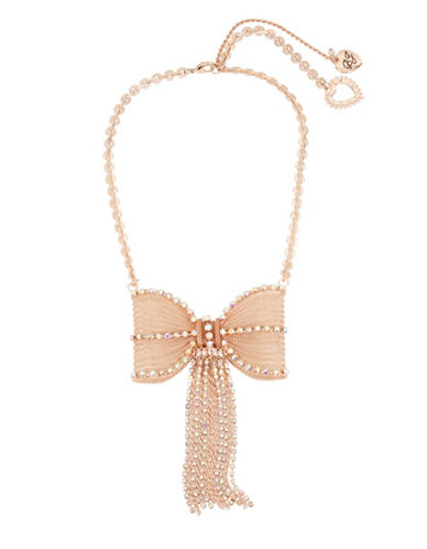 Betsey Johnson Mesh Bow Statement Necklace-ROSE GOLD-One Size