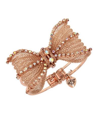 Betsey Johnson Crystal Mesh Bow Bangle Bracelet-ROSE GOLD-One Size
