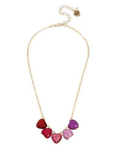 Betsey Johnson Glitter Heart Frontal Necklace-MULTI-One Size