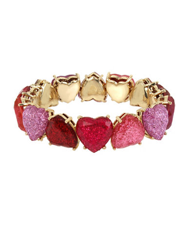 Betsey Johnson Tonal Heart Stretch Bracelet-ASSORTED-One Size